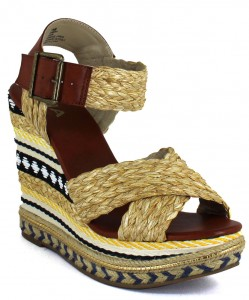 Multi-colored Tan Wedge Sandals