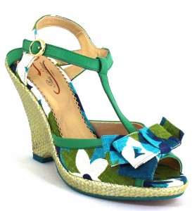 Blue and Green Floral wedge shoes