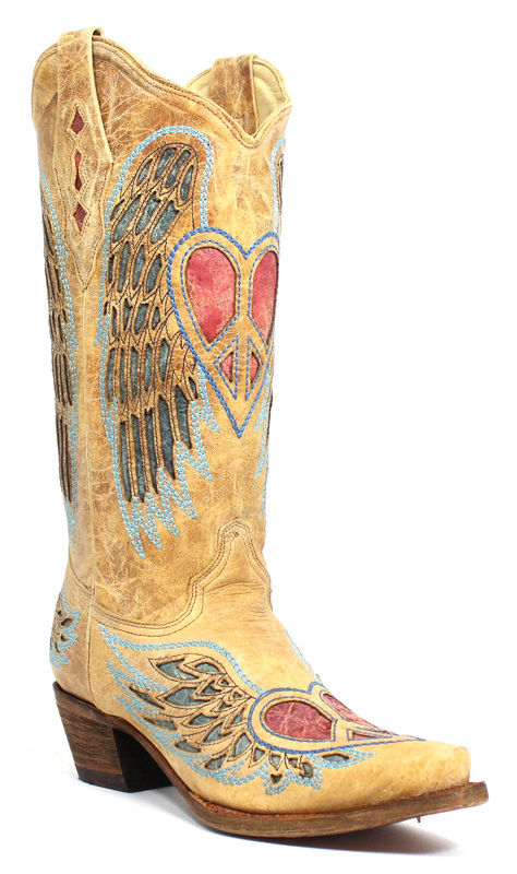 Corral Women's Antique Saddle Blue Jean Wing And Heart A1976
