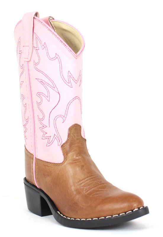 Old West Boots Kids Western Boot 8139 Tan Pink 8.5 D Children's