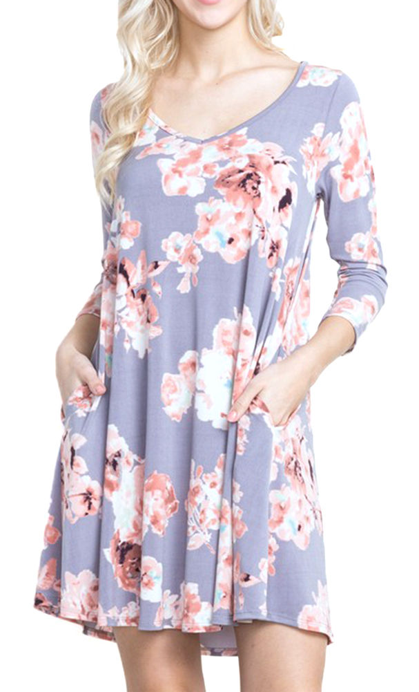 Mittoshop Women's 3/4 Sleeve Floral Print Dress Dusty Lav...