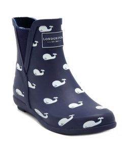 London Fog Women's Piccadilly Rainboot Navy Whales