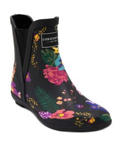 London Fog Women's Piccadilly Rainboot Black Floral