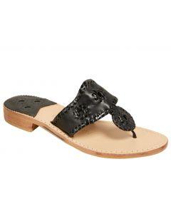 Jack Rogers Women's Jacks Flat Sandal Black Patent