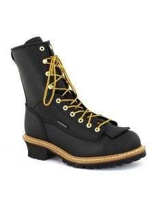 Carolina Men's 8 inch Waterproof Steel Toe Logger Black