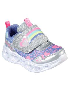 Skechers Kids Heart Lights-Lovie Dovie Silver Multi