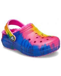 Crocs Kids Classic Lined Tie-Dye Clog Electric Pink Multi