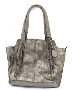 MC Handbags Joan Fringe Pewter
