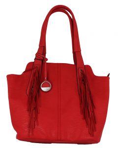 MC Handbags Joan Fringe Red