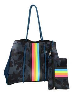 BC Handbags Neoprene Tote Blue Camo