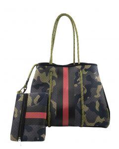 BC Handbags Neoprene Tote Green Camo