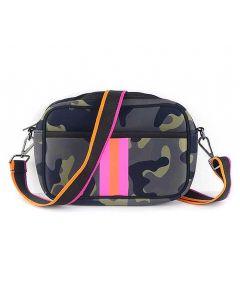 BC Handbags Neoprene Crossbody Green Pink