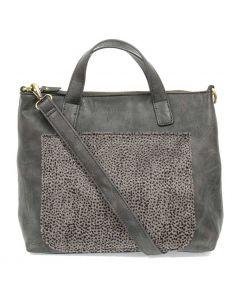 Joy Susan Pocket Convertible Tote Charcoal Cheetah