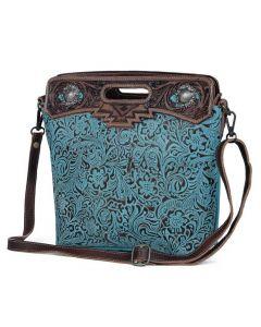 Myra Bag Blue Blossom Tooled Blue