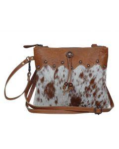 Myra Bag Small Zip Top Brown Cow