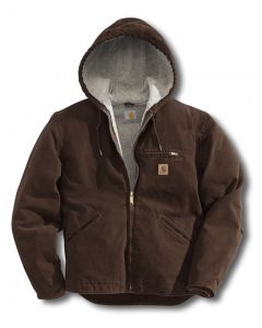 Carhartt Men's Sandstone Sierra Jacket Sherpa Lined Dark Brown