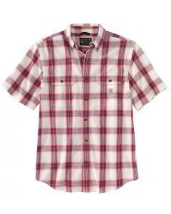 Carhartt Men's Midweight Chambray Plaid Shirt Ruby