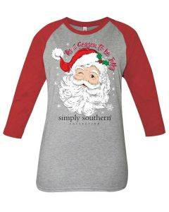 Simply Southern Women's Jolly T-Shirt Heather Grey Red
