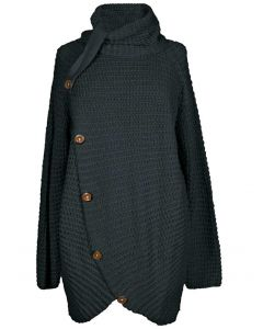 Simply Southern Women's Overlap Button Sweater Black