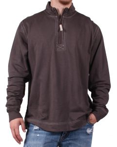 True Grit Men's Cashmere Fleece Zip Pullover Carbon
