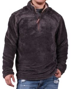 True Grit Men's Pebble Pile 1/4 zip Pullover Vintage Denim