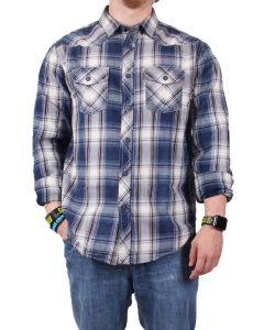 True Grit Men's Santa Cruz Plaid Indigo