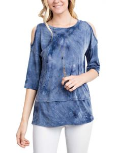 Mittoshop Women's Cold Shoulder Knit Top Blue