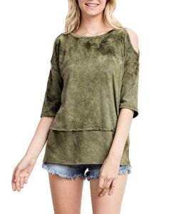 Mittoshop Women's Cold Shoulder Knit Top Olive