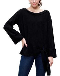 Mittoshop Women's Waffle Tie Knit Top Black