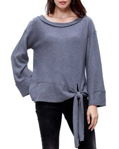 Mittoshop Women's Waffle Tie Knit Top Charcoal
