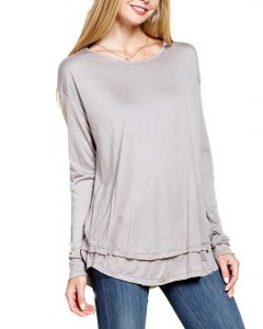 Mittoshop Women's Double Layered T-Shirt Taupe Grey