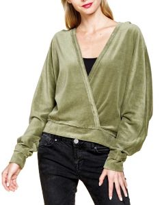 Mittoshop Women's Fluffy Open Front Hoodie Moss