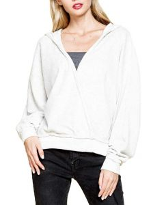 Mittoshop Women's Fluffy Open Front Hoodie Oatmeal