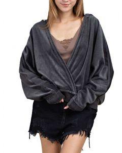 Mittoshop Women's Fluffy Open Front Hoodie Titanium