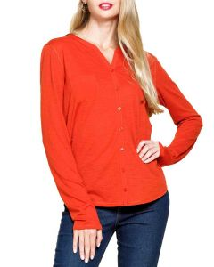 Mittoshop Women's Mix Media Knit Top Brick