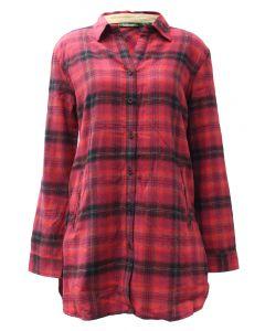 Pacific Teaze Ladies Flannel Tunic Red-Black Plaid
