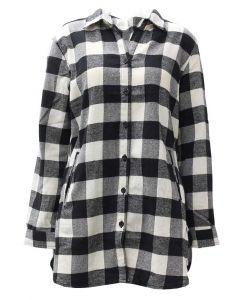 Pacific Teaze Women's Flannel Tunic Black-White Plaid