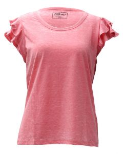 Stillwater Supply Co. Woman's Ruffle Sleeves Top Coral