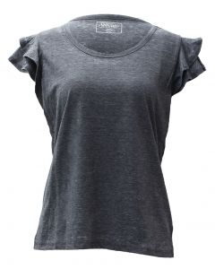 Stillwater Supply Co. Woman's Ruffle Sleeves Top Charcoal