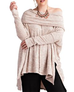 Easel Ladies Ultra Soft CowlNeck Knit Tunic Blush