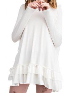 Easel Women's Ruffle Tunic Offwhite