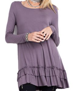Easel Women's Ruffle Tunic Purple
