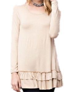 Easel Women's Ruffle Tunic Tan