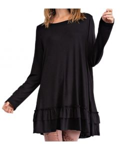 Easel Women's Ruffle Tunic Black