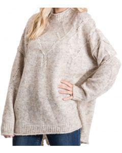Jodifl Women's Fuzzy Mock Neck Sweater Oatmeal