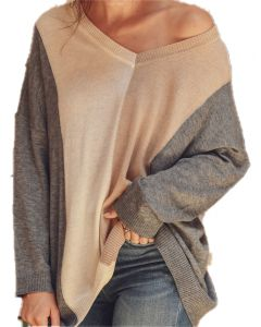 Jodifl Women's Color Block Vneck Sweater Charcoal