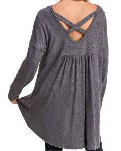 Jodifl Women's Criss Cross Tunic Charcoal