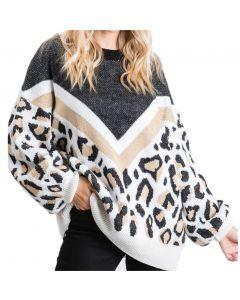 Jodifl Women's Print Block Leopard Pullover Black Mix