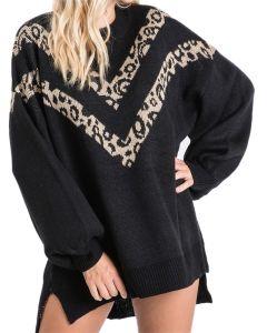 Jodifl Women's Leopard V Striped Sweater Black