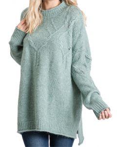 Jodifl Women's Fuzzy Mock Neck Sweater Sage